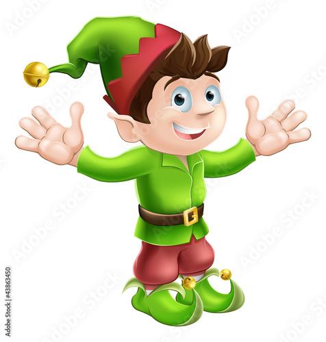 Foto auf Gartenposter Die magische Welt Christmas elf waving