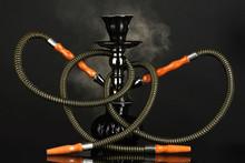 Hookah Smoke On Black Background