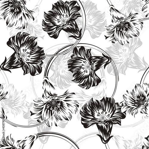 Fototapeta seamless vector flower background obraz na płótnie