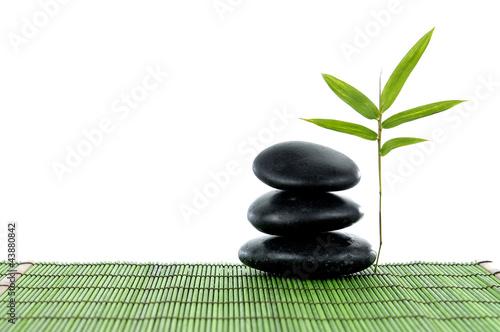 Tuinposter Zen a fresh bamboo leaf with zen stones on green mat