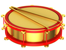 A Gold Drum Isolated On A White Background