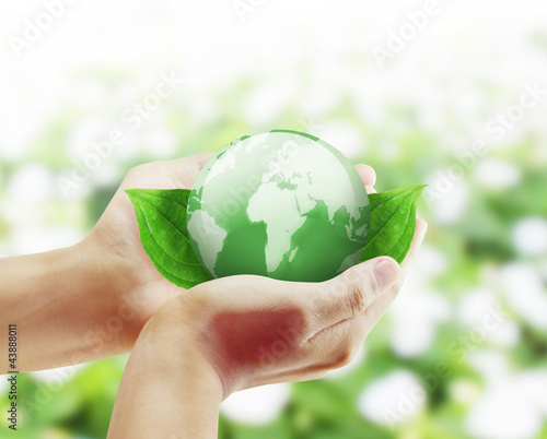 Canvas Prints Akt earth globe in his hands