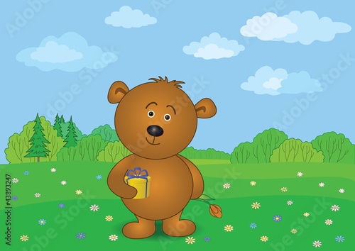 Poster Ours Teddy bear with flower and gift on meadow