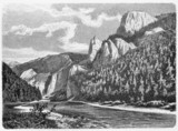vintage drawing of a mountain pass in Carpathian Mountains - 43898047