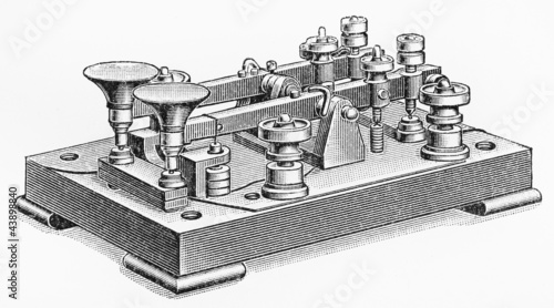 Vintage drawing of a Morse code double button machine - Buy