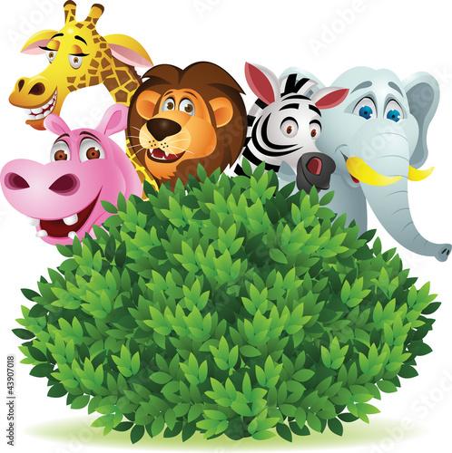 Staande foto Zoo Funny animal cartoon