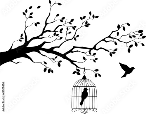 Recess Fitting Birds in cages Tree silhouette with bird flying