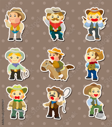 Aluminium Prints Wild West cowboy stickers