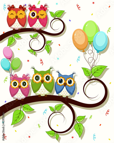 Photo sur Aluminium Hibou Beautiful vector card with Happy Birthday