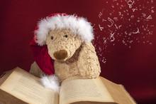 Christmas Teddy Bear Reading A Fairy Tale Book