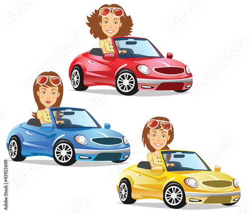 Keuken foto achterwand Cars Women Driving Convertible