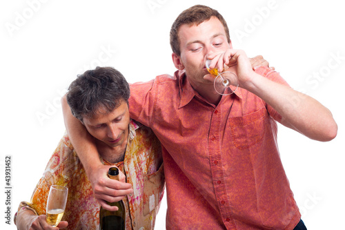 Fotografija  Drunken men drinking alcohol