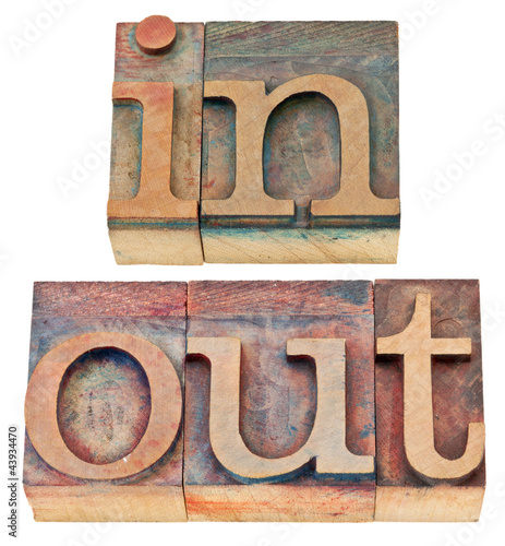 Fotografie, Tablou  in and out word in wood type
