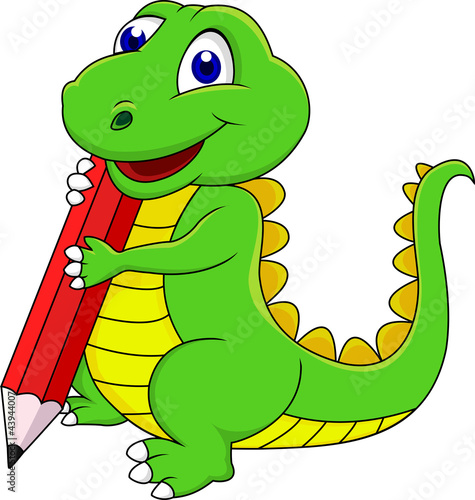 Spoed Foto op Canvas Dinosaurs Happy dinosaur cartoon writing with pencil