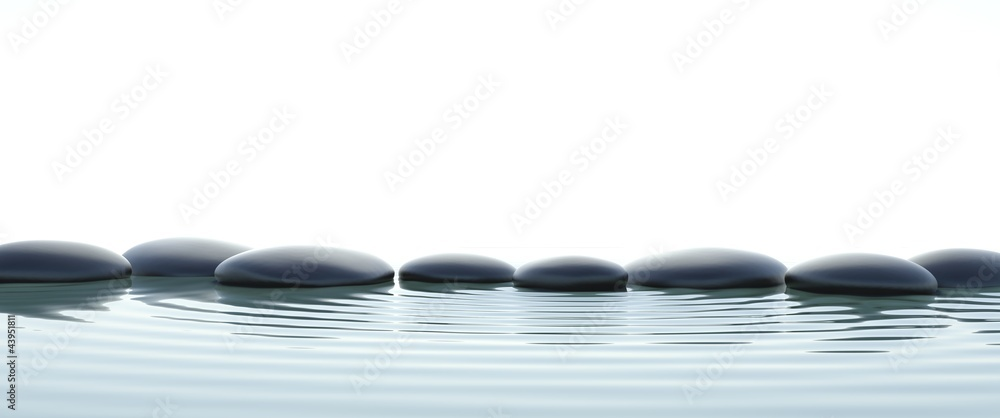 Fototapeta Zen stones in water on widescreen