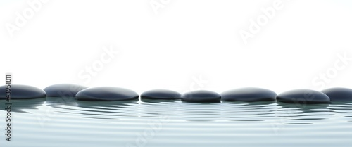 Canvas Print Zen stones in water on widescreen