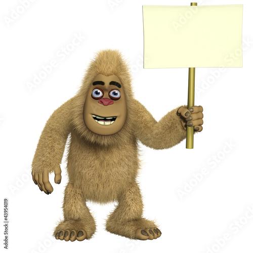 brown yeti holding blank