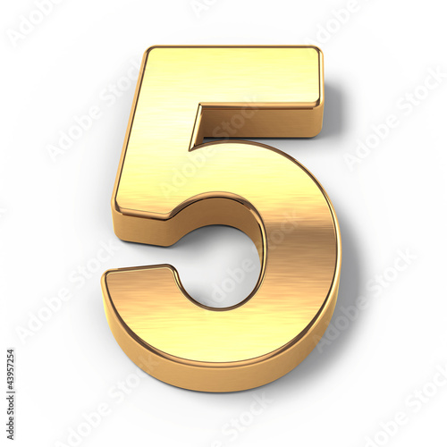 Photographie  3d Gold metal numbers - number 5