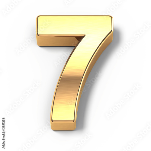 Poster  3d Gold metal numbers - number 9