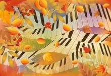 Musical Autumn Banner. Vector ...