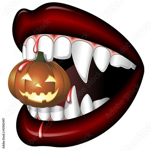 Wall Murals Draw Halloween Bocca di Vampiro-Scary Vampire Mouth with Pumpkin