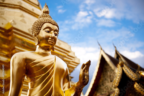 Foto op Canvas Boeddha Golden Buddha statue in Thailand Buddha Temple.