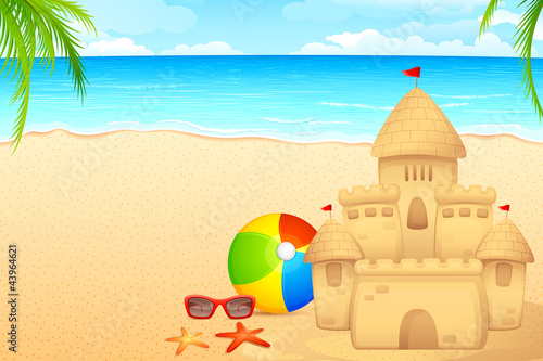 Poster Castle vector illustration of sand castle on sea beach
