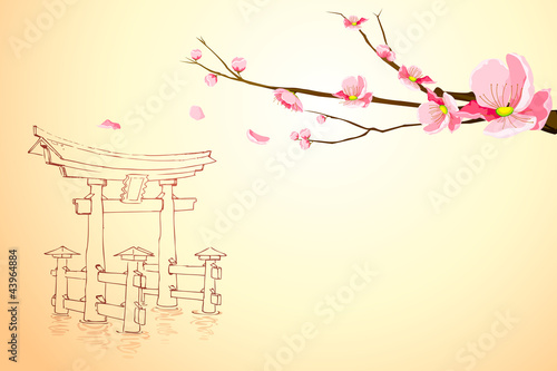vector illustration of flower tree on Miyajima monument backdrop