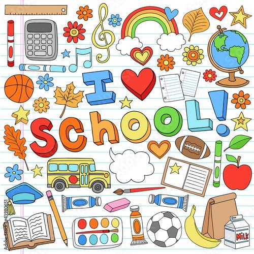 I Love School Back to School Supplies Doodle Vector Design – kaufen Sie  diese Vektorgrafik und finden Sie ähnliche Vektorgrafiken auf Adobe Stock |  Adobe Stock