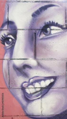 Fototapeten Fondo, graffiti de mujer, arte urbano