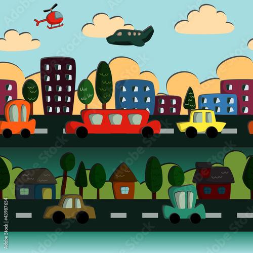Poster de jardin Route Town Pattern