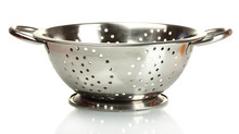Empty Silver Colander Isolated...
