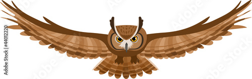 Foto op Plexiglas Uilen cartoon Vector illustration of brown flying owl