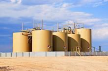 Storage Tanks For Crude Oil In Central Colorado, USA