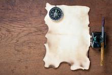 Burnt Grunge Paper, Compass, P...
