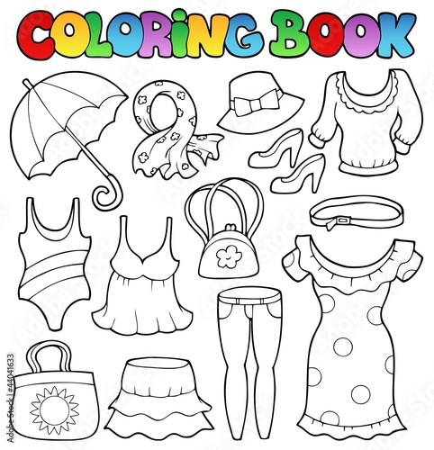 Spoed Foto op Canvas Doe het zelf Coloring book clothes theme 2