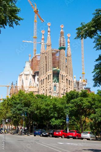 Foto op Plexiglas Bedehuis Sagrada Família's main facade. Barcelona.