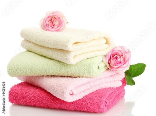 Fotografie, Obraz  bright towels and roses isolated on white