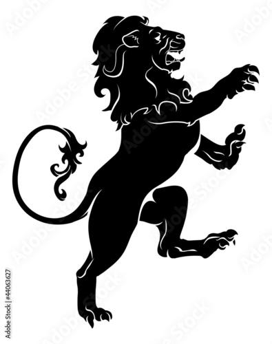 Heraldic rampant lion Poster