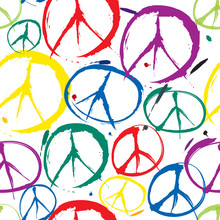 Seamless Pattern With Multicolor Symbols Of Peace