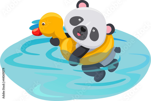 Fotobehang Rivier, meer panda swimming with duck tube