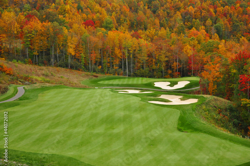 Acrylic Prints Golf Autumn Mountain Golf Course