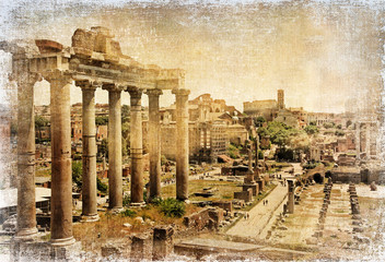 Fototapeta Rzym Roman forums - retro picture
