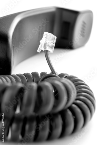phone and cable on a white background Slika na platnu