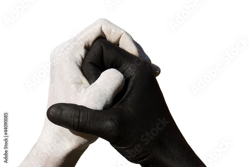 Fotografie, Obraz  schwarze und weiße Hand greifen ineinander