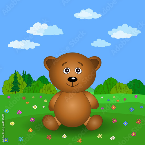 Poster Ours Teddy bear on a summer flower meadow