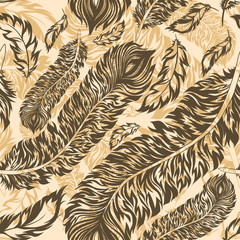 FototapetaRetro seamless pattern with feathers