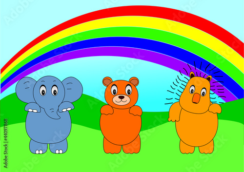 In de dag Regenboog animal cartoon