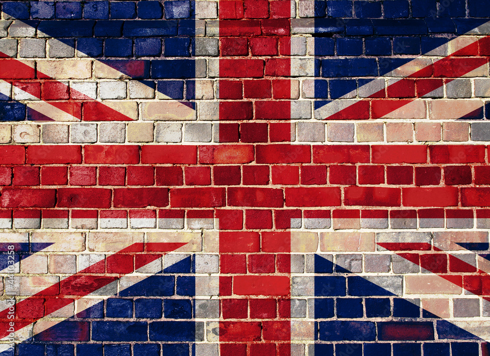UK flag on a brick wall background Tapéta, Fotótapéta