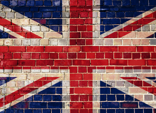 UK flag on a brick wall background Fototapet